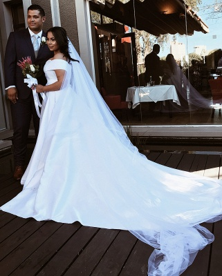 Off Shoulder White Satin A-line Floor Length Wedding Dresses