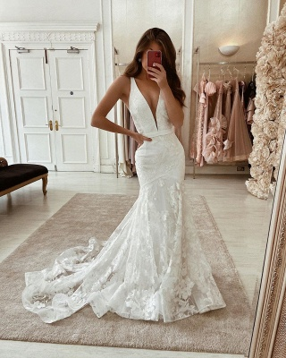 Double V-Neck Belt Tulle Lace Appliques Mermaid Wedding Dresses