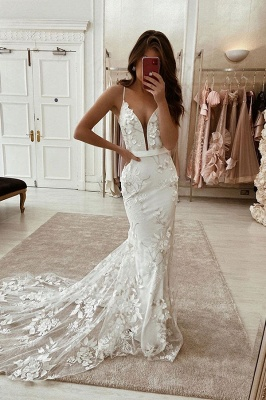 Deep V-Neck Straps Belt Satin Floral Lace Appliques Slim Mermaid Wedding Dress Sweep Train