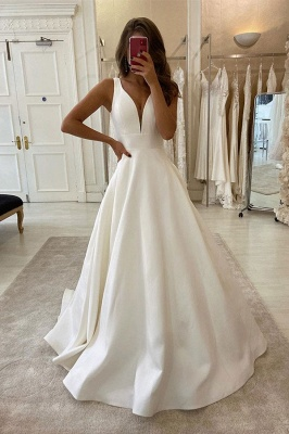 Elegant Double V-Neck Satin Wedding Dress  Slim A-line Bridal Gowns_1