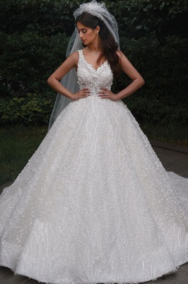 V-Neck Floral Lace Appliques Tulle Ball  Gowns Backless Wedding Dress_1