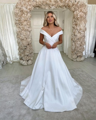 Off Shoulder Lace Satin Floor length Chapel Bridal Wedding Dress with Sweep Train_1