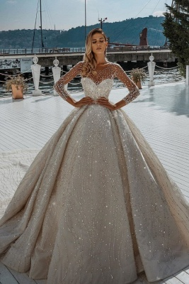 Crew Neck Long Sleeve Tulle Crystal Sequins Ball Gowns