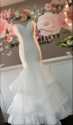 Sweetheart  Backless Organza Mermaid Layered Wedding Bridal Gowns_2