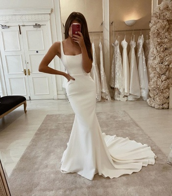 Square Neck Satin Belt Slim Mermaid Prom Wedding Dress