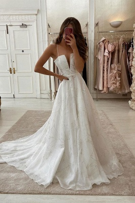 V-Neck Straps Sleeveless Satin Tulle A-line Wedding Bridal Gowns