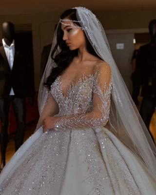 Luxury V-Neck Long Sleeve Floral Crystals A-line Ball Gown Satin Beads Bridal Gowns_4