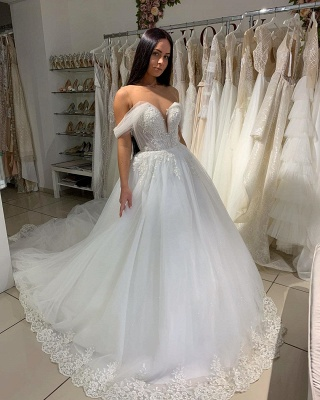 Charming Off Shoulder V-Neck White Lace Appliques A-line Ball Gowns Tulle Bridal Dress_3