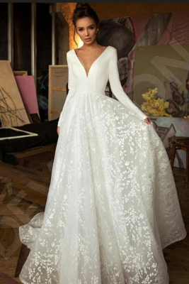 Elegant Lace Bridal A-line V-Neck Long Sleeves Wedding Dresses