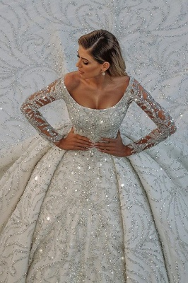Luxury Glitter Scoop Neck Long Sleeve Cystals Ball Gowns Satin Sweep Train