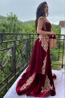 Burgundy Velvet Evening Gown Gold Appliques Floor Length Dress_1