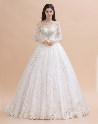 Glamous Ivory Long Sleeve Lace Appliques A-line Wedding Dress_2