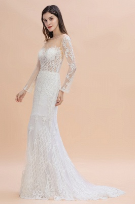 Elegant White/Ivory Tulle Lace Appliques Mermaid Bridal Gowns Long Seelve Wedding Dress_4