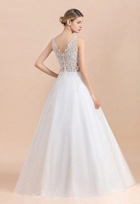 Elegant Sleeveless A-line Wedding Dress Floral Appliques Bride for Women_2