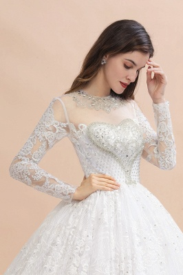 Glamous Ivory Long Sleeve Lace Appliques A-line Wedding Dress_8