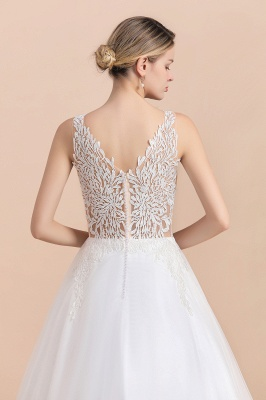 Elegant Sleeveless A-line Wedding Dress Floral Appliques Bride for Women_10