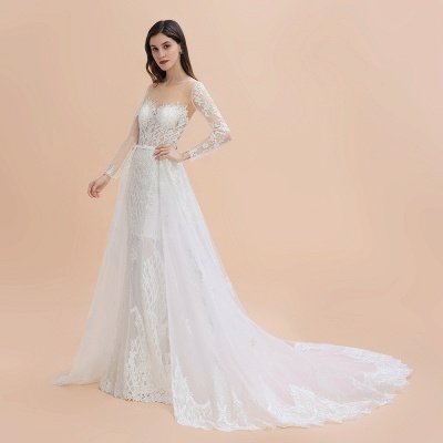 Elegant White/Ivory Tulle Lace Appliques Mermaid Bridal Gowns Long Seelve Wedding Dress_11