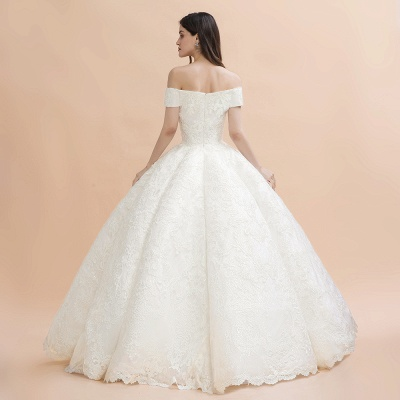 Elegant Ivory Off-the-Shoulder Lace Appliques Ball Gowns_8