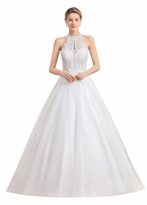 Halter Lace Appliques Wedding Dress A-line Sleeveless Wedding Party Dress