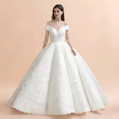 Ivory Off Shoulder Tulle Lace Appliques Ball Gown Bridal Dress_5