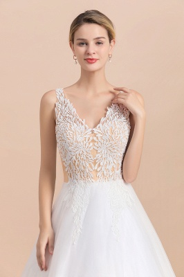Elegant Sleeveless A-line Wedding Dress Floral Appliques Bride for Women_5