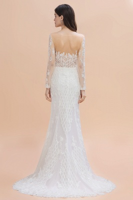 Elegant White/Ivory Tulle Lace Appliques Mermaid Bridal Gowns Long Seelve Wedding Dress_2