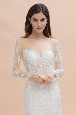 Elegant White/Ivory Tulle Lace Appliques Mermaid Bridal Gowns Long Seelve Wedding Dress_6