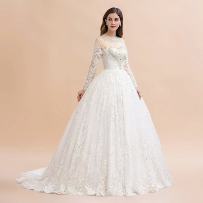 Glamous Ivory Long Sleeve Lace Appliques A-line Wedding Dress_6