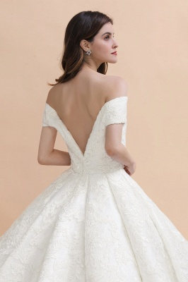 Ivory Off Shoulder Tulle Lace Appliques Ball Gown Bridal Dress_9