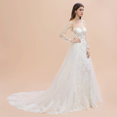 Elegant White/Ivory Tulle Lace Appliques Mermaid Bridal Gowns Long Seelve Wedding Dress_10