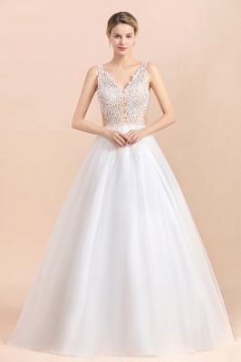 Elegant Sleeveless A-line Wedding Dress Floral Appliques Bride for Women_3
