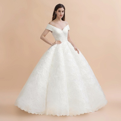 Elegant Ivory Off-the-Shoulder Lace Appliques Ball Gowns_5