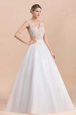 Elegant Sleeveless A-line Wedding Dress Floral Appliques Bride for Women_6