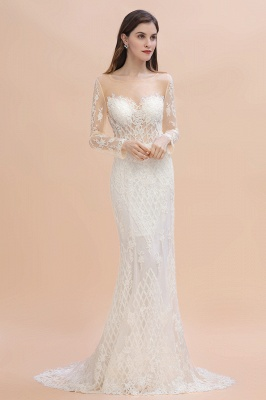 Elegant White/Ivory Tulle Lace Appliques Mermaid Bridal Gowns Long Seelve Wedding Dress_5