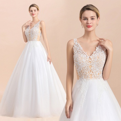 Elegant Sleeveless A-line Wedding Dress Floral Appliques Bride for Women_13