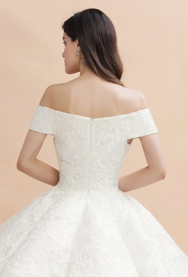 Elegant Ivory Off-the-Shoulder Lace Appliques Ball Gowns_9