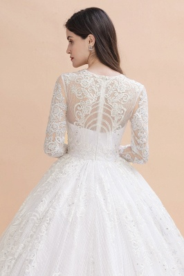 Glamous Ivory Long Sleeve Lace Appliques A-line Wedding Dress_9