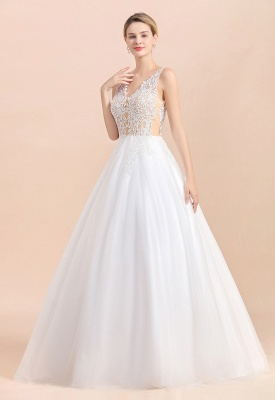 Elegant Sleeveless A-line Wedding Dress Floral Appliques Bride for Women_4