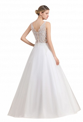 Elegant Sleeveless A-line Wedding Dress Floral Appliques Bride for Women_11