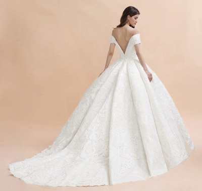 Ivory Off Shoulder Tulle Lace Appliques Ball Gown Bridal Dress_7