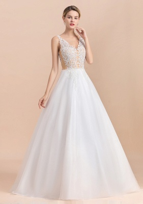 Elegant Sleeveless A-line Wedding Dress Floral Appliques Bride for Women_7