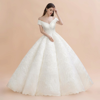 Elegant Ivory Off-the-Shoulder Lace Appliques Ball Gowns_1