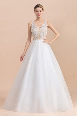 Elegant Sleeveless A-line Wedding Dress Floral Appliques Bride for Women_8
