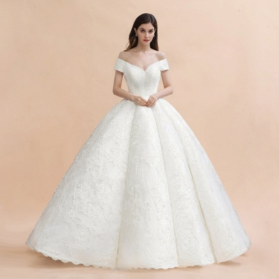 Ivory Off Shoulder Tulle Lace Appliques Ball Gown Bridal Dress_1