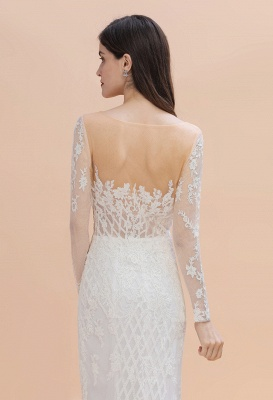 Elegant White/Ivory Tulle Lace Appliques Mermaid Bridal Gowns Long Seelve Wedding Dress_7