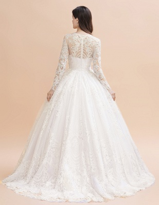 Glamous Ivory Long Sleeve Lace Appliques A-line Wedding Dress_3