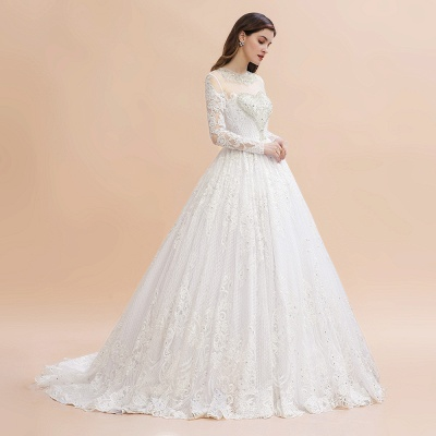 Glamous Ivory Long Sleeve Lace Appliques A-line Wedding Dress_7