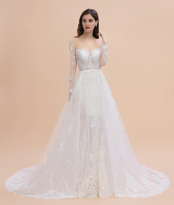 Elegant White/Ivory Tulle Lace Appliques Mermaid Bridal Gowns Long Seelve Wedding Dress_8