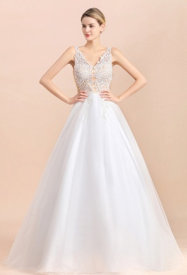 Elegant Sleeveless A-line Wedding Dress Floral Appliques Bride for Women_1
