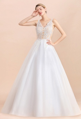 Elegant Sleeveless A-line Wedding Dress Floral Appliques Bride for Women_9